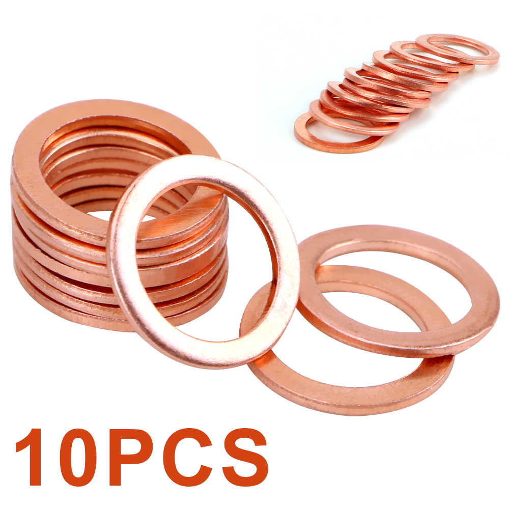 YOSOLO 10 Pieces/Set 10x14x1mm Solid Copper Crush Washers Fasteners Accessories Sump Plug Oil Seal Tools for Car Truck Vehicle