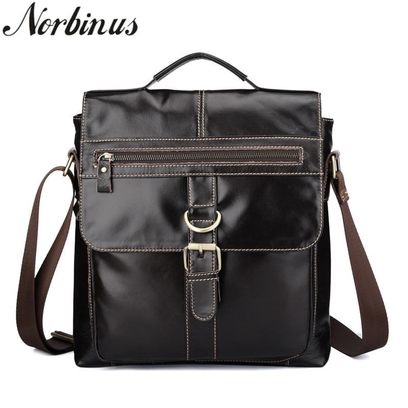 Norbinus Genuine Leather Bag Men's Handbag Cowhide Shoulder Bags Business Phone Pouch Male Travel Pack Messenger Crossbody Bag цена 2017
