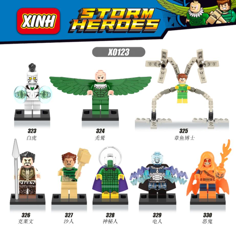 Super Heroes Spider-Man Mysterio Doctor Octopus Vulture White Tiger Sandman Kraven The Hunter Building Blocks Kids Toys X0123 золотые серьги ювелирное изделие 103502