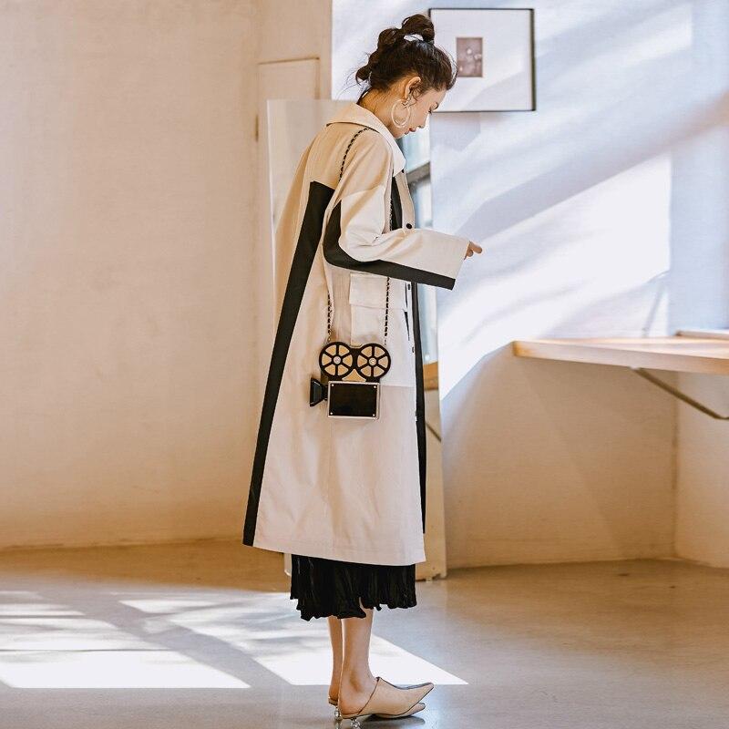 2019 Original Designer Frühling Graben mantel Frauen Plus größe Kleidung Weiß Patchwork Schwarz Casual Lange Lose Windjacke Oberbekleidung-in Trench aus Damenbekleidung bei  Gruppe 2