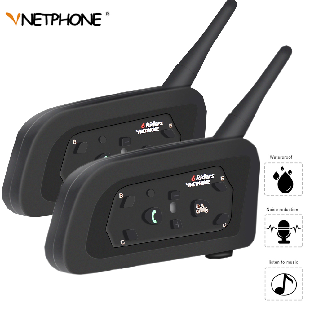 VNETPHONE Double V6 Bluetooth Intercom Helmet Headset 1200m Motorcycle Comunicador Capacete Headphone Waterproof for 6 Riders