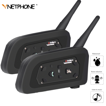 VNETPHONE Double V6 Bluetooth Intercom Helmet Headset 1200m Motorcycle Comunicador Capacete Headphone Waterproof for 6 Riders