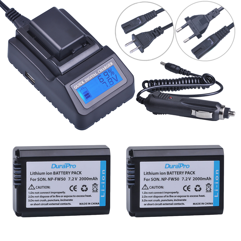 2 pc NP-FW50 NP FW50 FW50 Caméra Batterie + LCD Chargeur Rapide Pour Sony A6000 NEX-7 NEX-5N NEX-F3 NEX-3D NEX-3DW NEX-3K NEX-5C 7R II
