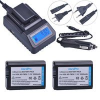 2pc NP FW50 NP FW50 FW50 Li Ion Battery LCD Quick Charger For Sony A6000 NEX