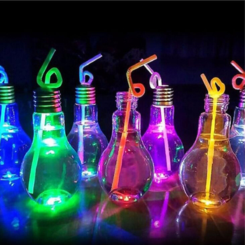 1 Pc Sippy Cups Creative Bottles Milk Tea Shop Bulb Transparent Plastic Fruit Juice Bottle Lighting Lamps Cup Decoration