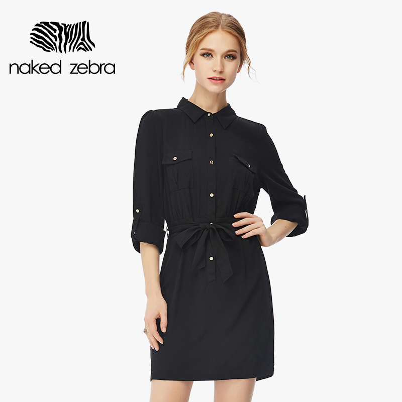 Women Shirt Dress Summer Solid Color With Buttons Short Dresses With Belt Fashion Style Long