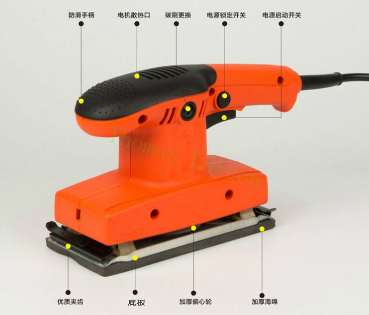180W 12500RPM Woodworking flat polishing sander furniture paint grinding machine high power wood ...