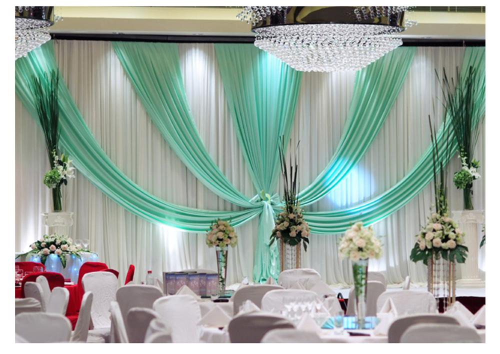 Tiffany bleu avec glace blanche tissu de soie de mariage toile de fond rideau de mariage tente de mariage toile de fond stand toile de fond matériel
