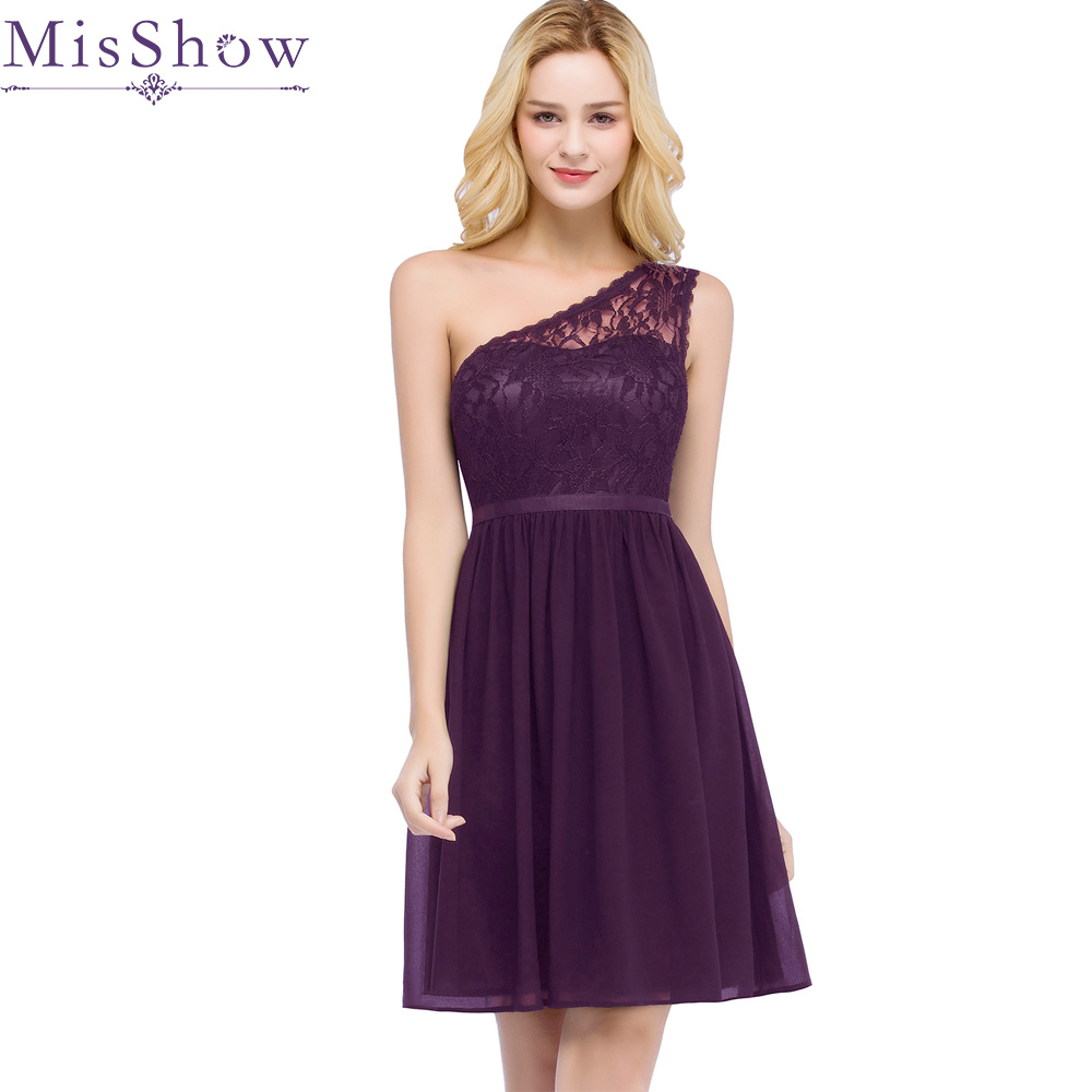 In Stock fast ship! One Shoulder   Cocktail     Dresses   Purple Chiffon Short   Dresses   Elegant A Line 2019 Special Occasion Party   Dress
