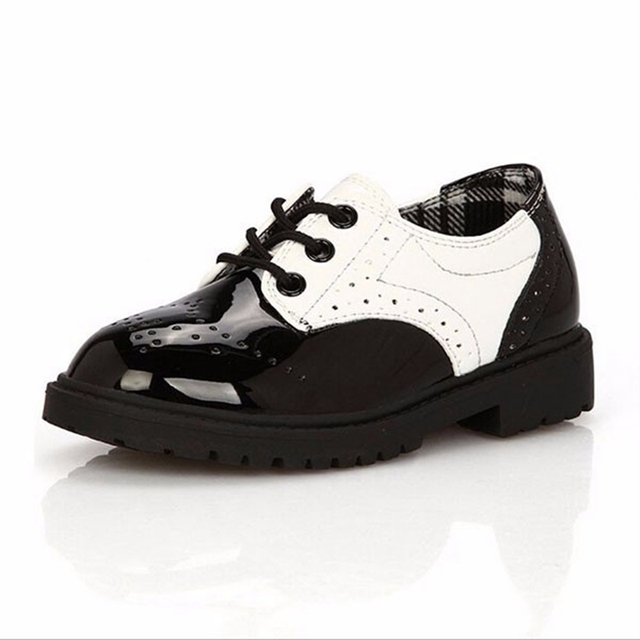 Kids Black White Patchwork Shoes Gentlemanlike Wedding Party Oxford Flat Shoes For Boys Girls Children Cute Leather Lace-Up Shoe