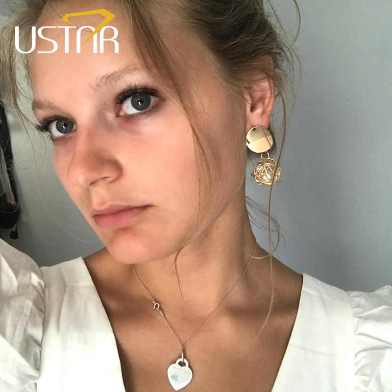 USTAR Weave Ball Drop Earrings for Women Geometric Statement Created Pearl Earrings 2018 Fashion Jewelry hanging Oorbellen gifts