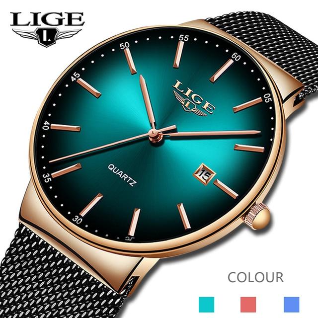 LIGEกีฬาวันที่บุรุษนาฬิกาแบรนด์หรูกันน้ำแฟชั่นนาฬิกาผู้ชายUltra Thin Dialนาฬิกาควอตซ์Relogio Masculino