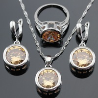 Round Stones Orange Yellow Morganite 925 Sterling Silver Jewelry Sets For Women Necklace Pendant Earrings Rings