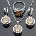 Pedras redondas orange amarelo criado morganite brincos anéis conjuntos de jóias para as mulheres colar de pingente de cor prata caixa de presente livre