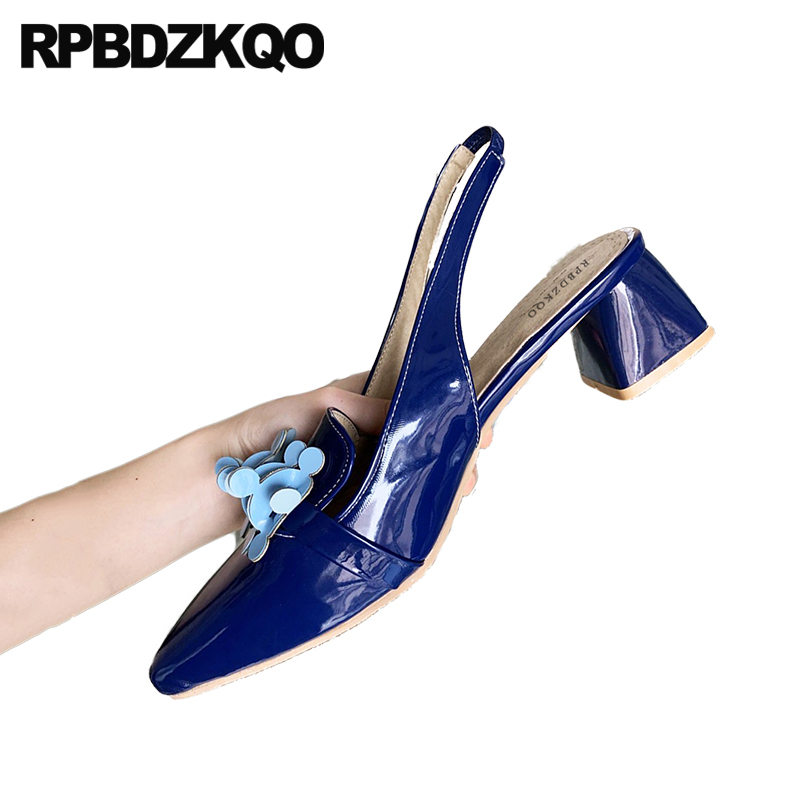 Thick Slingback Blue Size 33 High Heels Designer Pumps 13 45 12 44 Big Women Shoes Pointed Toe Patent Leather Medium Sandals