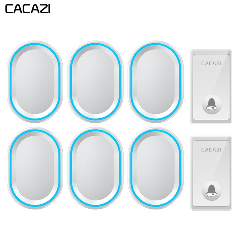 CACAZI Self-powered Wireless Doorbell 2 Button 6 Receivers Waterproof No Battery Required Home Call bell US EU UK Plug 58 ChimesCACAZI Self-powered Wireless Doorbell 2 Button 6 Receivers Waterproof No Battery Required Home Call bell US EU UK Plug 58 Chimes