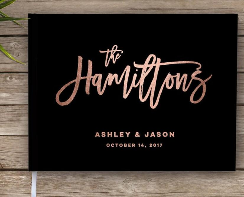 Personalized Rose Gold Wedding Guest Book Sign In, Custom Wedding Journals, Instant Photo Ablums Signature Guestbook