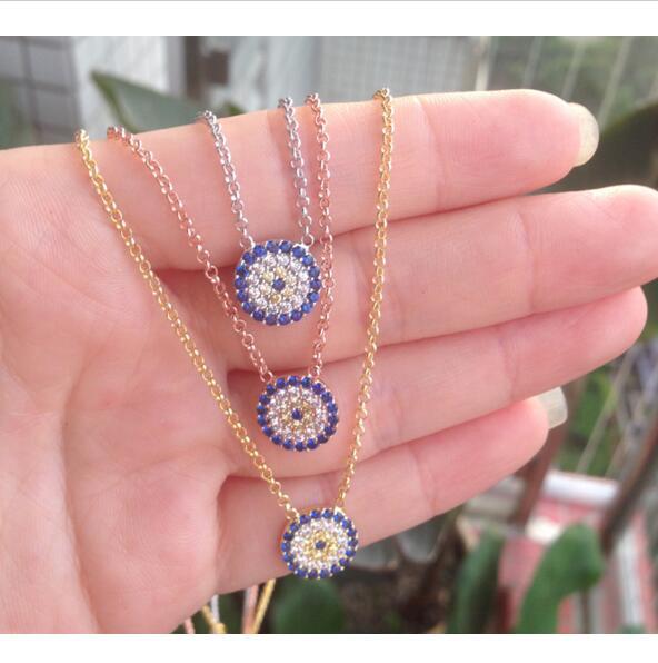 Nouveau authentique 925 en argent sterling bleu blanc or cubique zircone mauvais œil chaîne en argent collier