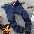 2017 новых прибыть мужская толстые штаны. плюс бархат держать одежда полная длина сплошной цвет флис джинсы Бесплатная доставка