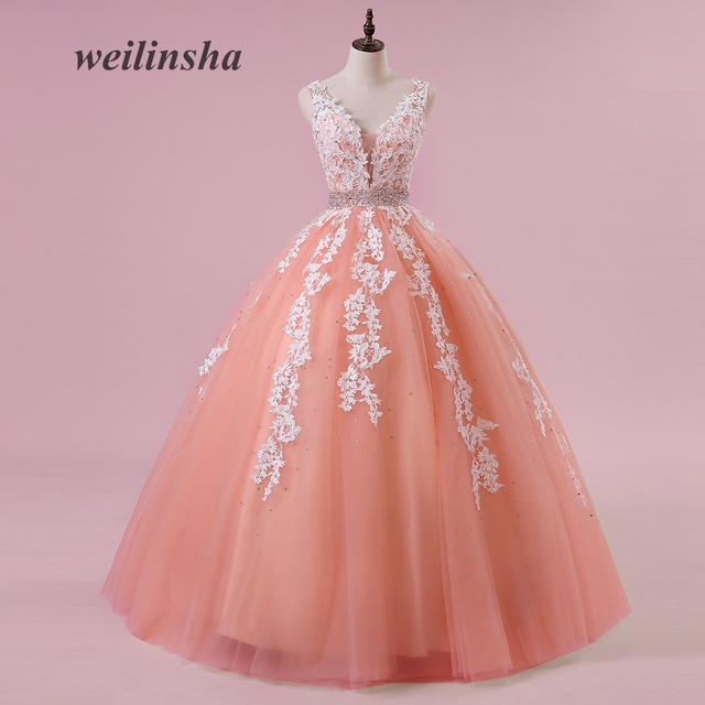 weilinsha Candy Color Tulle Wedding Dresses Sexy V-neck Ball Gown Coral  Appliques Sequined Beading Vestido de Noiva 4245ca022daf