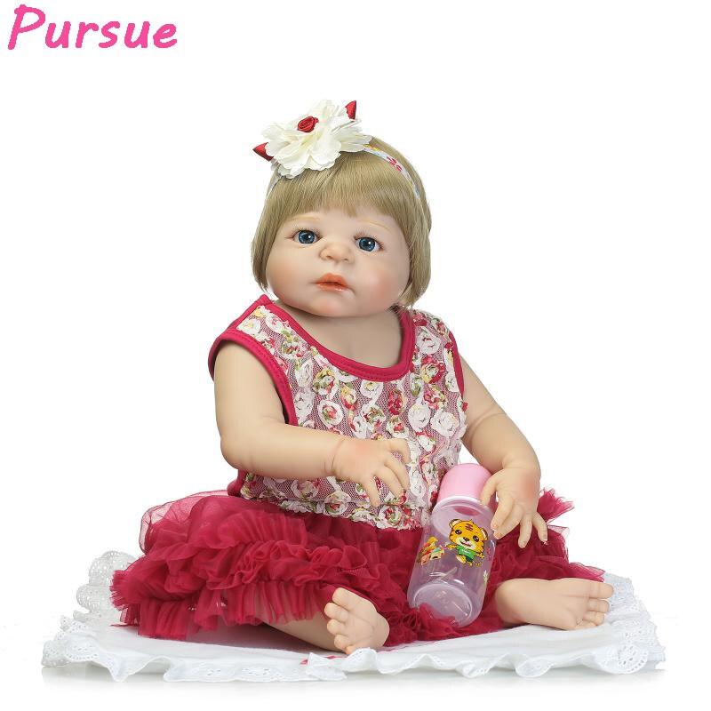 Pursue 57cm Doll Reborn Full Body Silicone Reborn Newborn Baby Dolls that Look Real bonecas reborn de silicone inteiro menina 100% full silicone dolls reborn girl completa brinquedo menina bonecas toddler corpo inteiro de full silicone reborn rb12 11hh