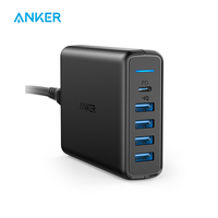 Anker USB C Premium 60W 5 Port Desktop Charger with One 30W Port for Apple MacBook Nexus 5X/6P 4 PowerIQ Ports for iPhone iPad