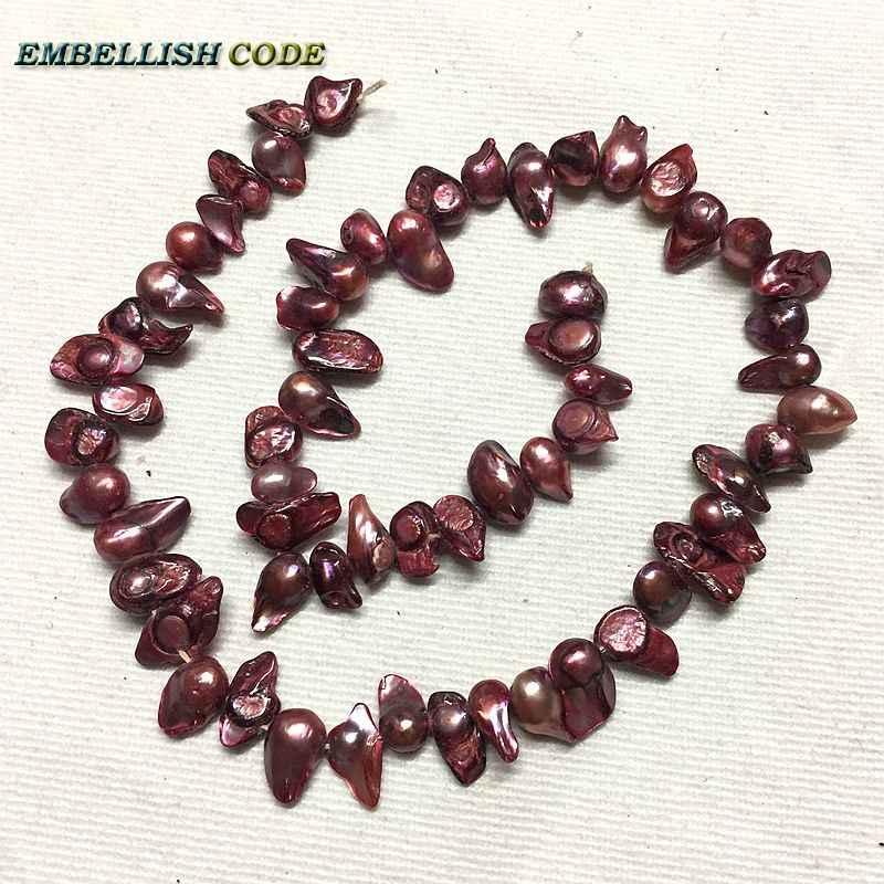 Forma de girino barroco Biwa pérolas jóias DIY na venda barato contas roxo escuro vermelho tingimento 5-7mm Strand 60 pçs/lote face lateral buraco