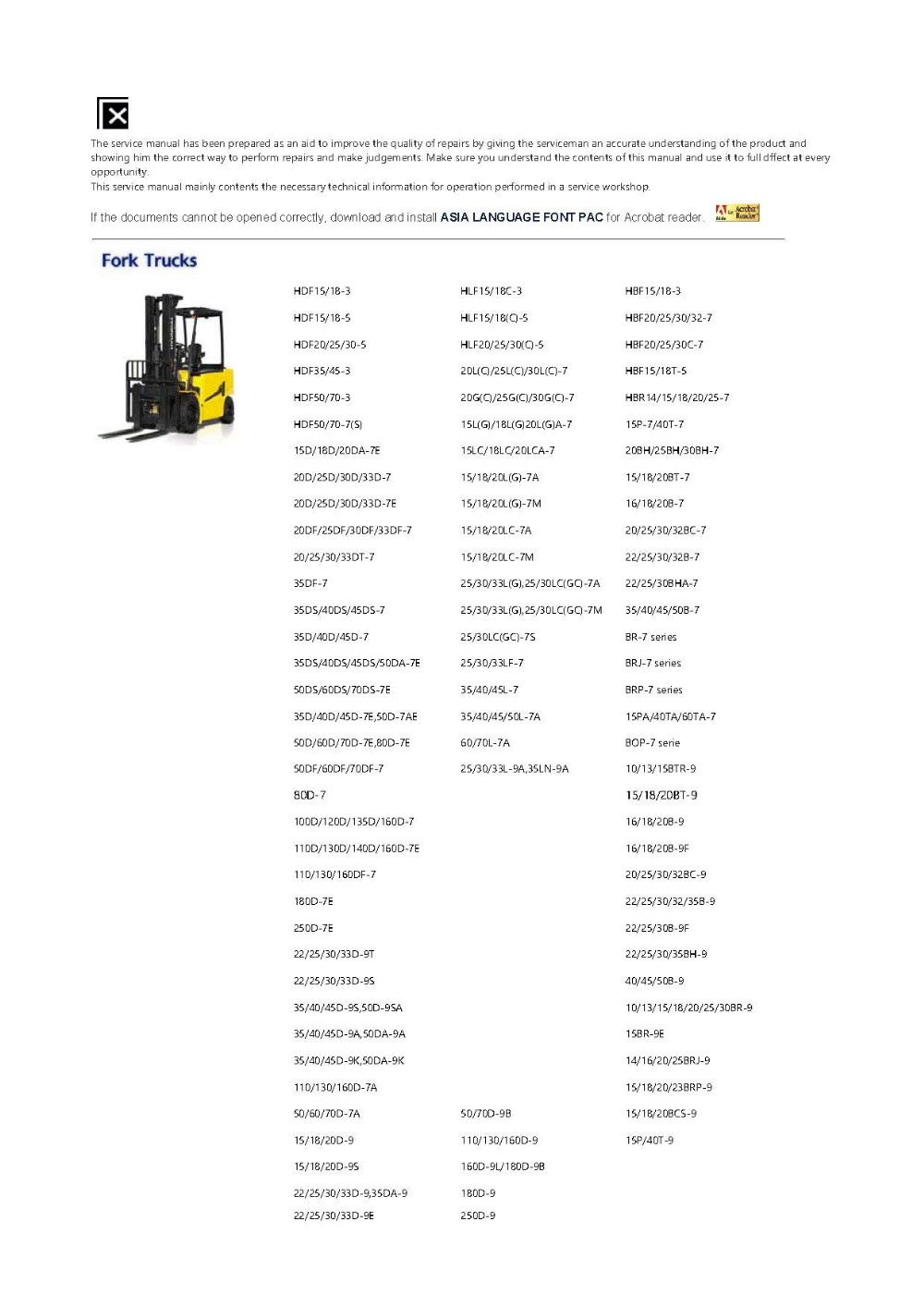 Forklift Trucks and Engine Service Manuals and Workshop Manuals for Hyundai  2019
