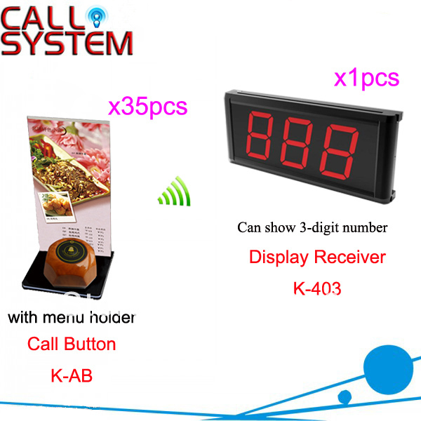 Wireless Call Pager for Restaurant Hotel Cafe Casino button can be personalized display show 3-digit number Free Shipping 2 receivers 60 buzzers wireless restaurant buzzer caller table call calling button waiter pager system