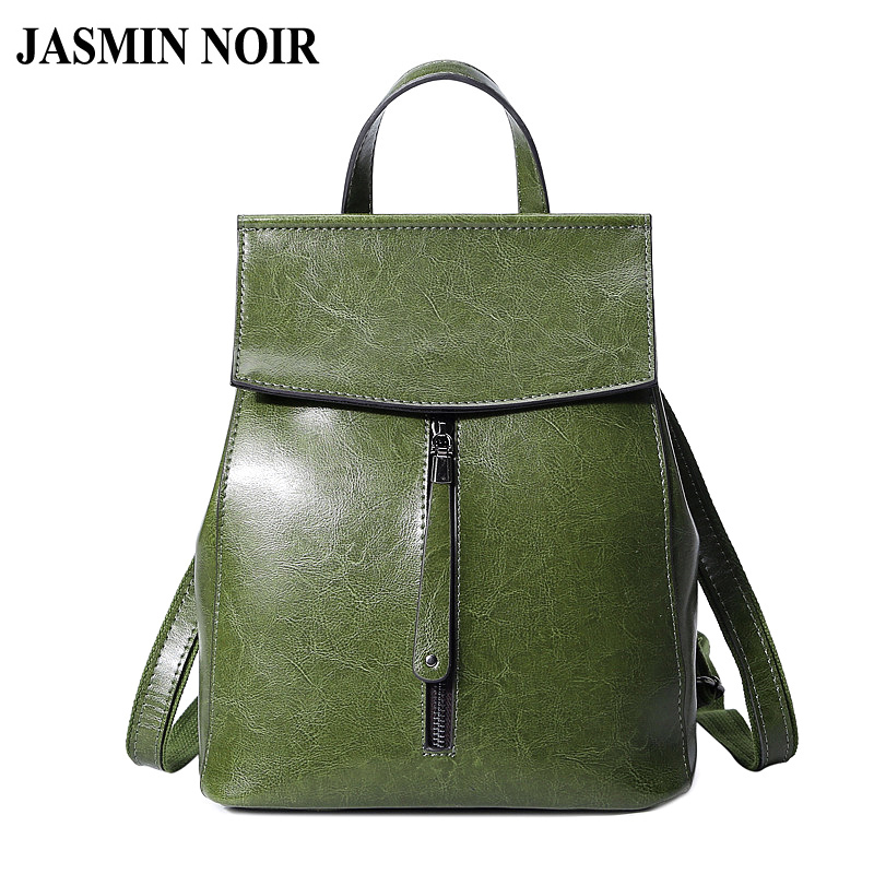Fashion Designer Women Genuine Leather Backpack Shoulder School Bags for Teenagers Travel Oil Wax Cow Female Knapsack Back Bag luxury oil wax genuine cow leather women backpack small women s travel bags multifunction korean fashion women shoulder bags