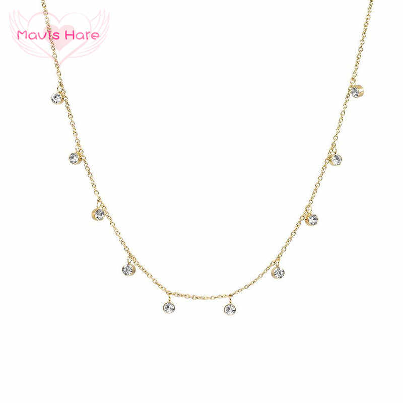 Mavis Hare Stainless Steel 3mm Crystal NANI Choker Necklace with 10pcs zircon Crystal Pendant as Fashion Lady Best Jewelry 1pcs
