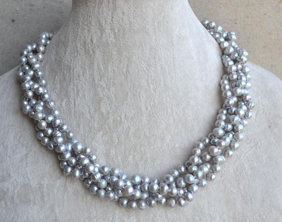 Genuine Freshwater Pearl Necklace, 18 inches 4 Rows 5-6mm Gray Color Chokers Pearl Jewellery,Fashion Ladys GiftGenuine Freshwater Pearl Necklace, 18 inches 4 Rows 5-6mm Gray Color Chokers Pearl Jewellery,Fashion Ladys Gift