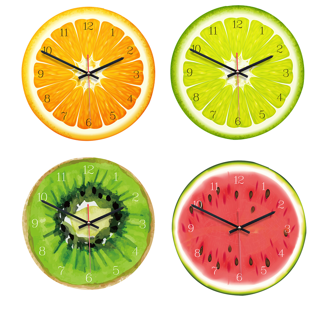Acrylic Dial Fruits Wall Clock Non-ticking Clock Living Room Kitchen Bedroom Office Decor