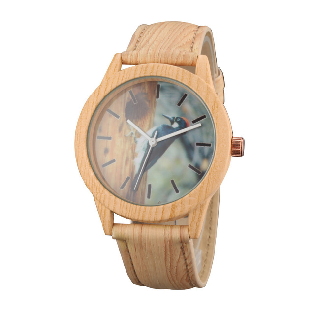 606bb1ca2d56 Lovely Boy Girl Child Casual Watches Bamboo Wood Leather Wristwatch Big  Dial Male Female Quartz Clocks