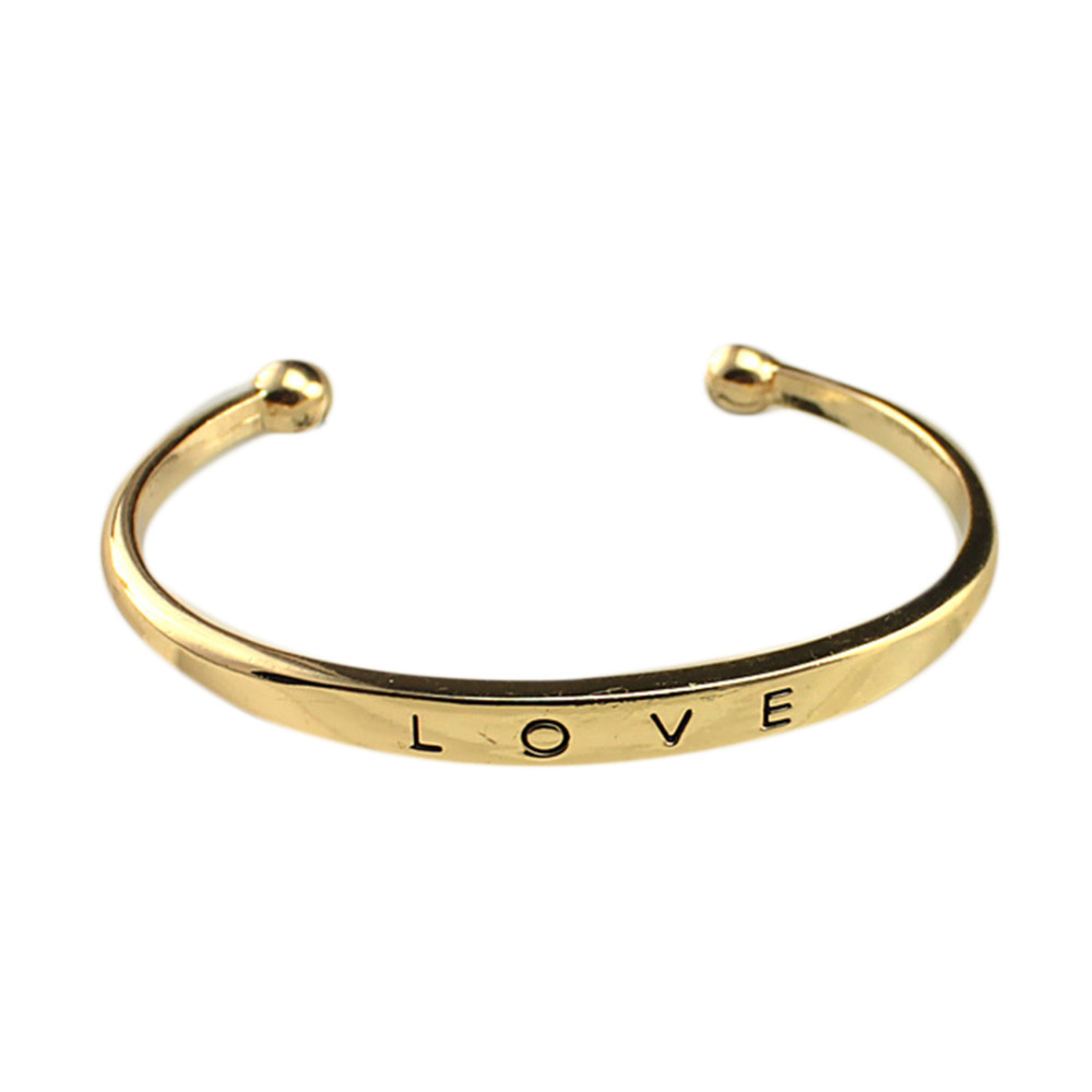 Fashion Love Lettering Bangles Gold Silver Rose Gold Color Bangle Charming Jewelry Accessories