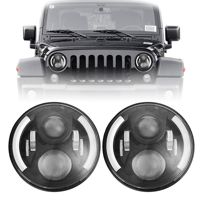7inch Round 50W Hi/Lo Beam LED Driving Lihgt Headlight Insert With DRL Halo Ring Angle Eyes for Jeep Wrangler JK TJ LJ 1997-2017 ...