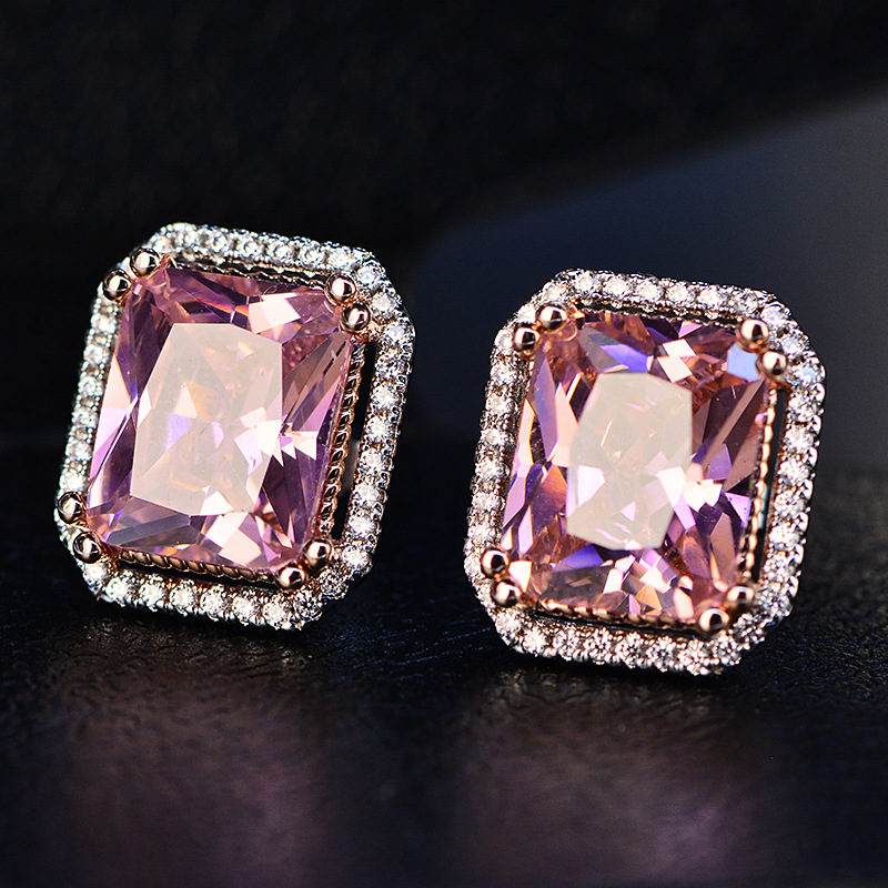 Classic Vintage Big Square Aristocratic Pink Earrings Sweet Rhinestone Stud Crystal Earring For Women Girl ZK40 pair of sweet rhinestone hollow flower design earrings for women