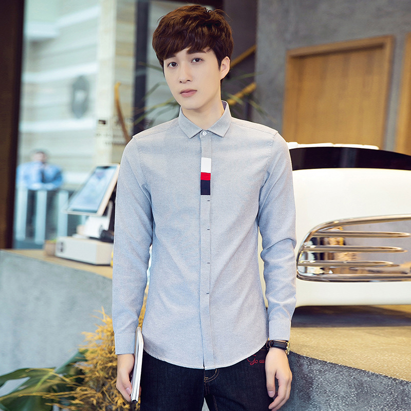 Men's Camisa Masculina <font><b>Large</b></font> Size Long Sleeve Slim Fit Oxford <font><b>White</b></font> Blue Shirt Work Clothes Korean Fashion Buttons <font><b>Chemise</b></font> Homme
