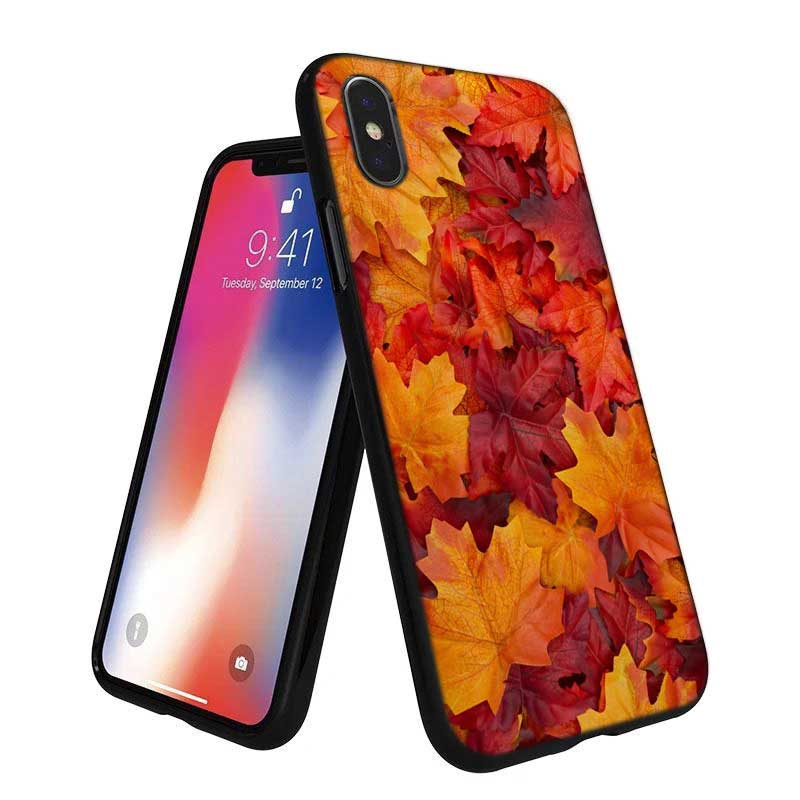 For iPhone XS X XR Max 8 7 6 6S Plus 5 5S SE Black Soft Silicone Phone Case Autumn maple leaf Style in Fitted Cases from Cellphones Telecommunications