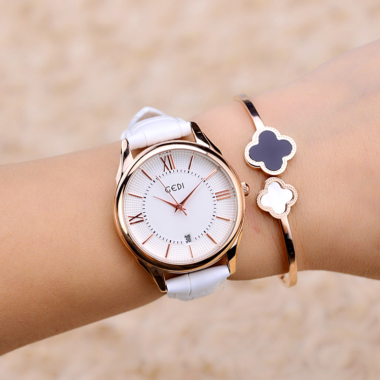 Fashion Dress Watches Women Top Luxury Brand Ladies Leather Band Quartz Watch Famous Clock Relogio Feminino Montre Femme Hodinky fashion rose gold bracelet watches women top luxury brand ladies quartz watch famous clock relogio feminino montre femme hodinky