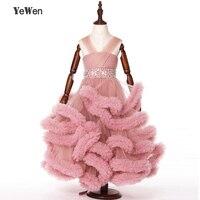 Cloud Flower Girl Dress Baby Cloudy Long Tail Puffy Ball Gown Flower Children Dress Plus Size