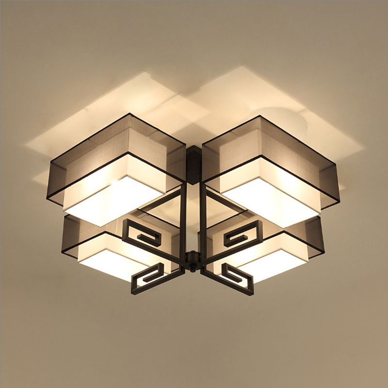 Modern Fabric Lampshade Ceiling Light Black Chinese Style
