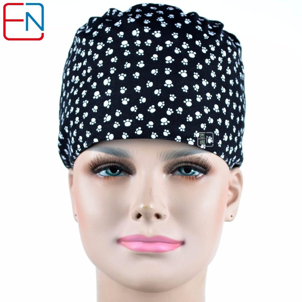 Hennar Medical Scrub Caps Doctor Nurse Scrub Top Surgical Hats With Sweatband Inner For Clinic Workwear Cotton Scrub Caps Unisex