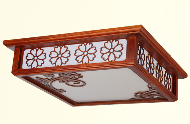 Oriental Chinese Anese Style Ceiling Lamp Led Mahogany Finish Wooden Light Lamps Home Living Room Modern Decorations
