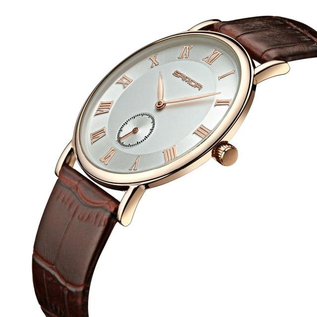 acac336750a Novo Top De Relógios de Luxo Homens Marca de Relógios Ultra Fino de couro  Genuíno dos