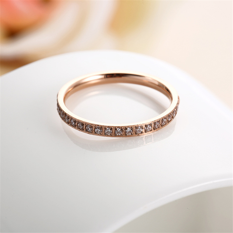 Ailodo Luxury 20 Crystals Women Rings Rose Gold Color Titanium Steel Engagement Wedding Ring Fashion Female Jewelry Gift LD015 in Rings from Jewelry Accessories