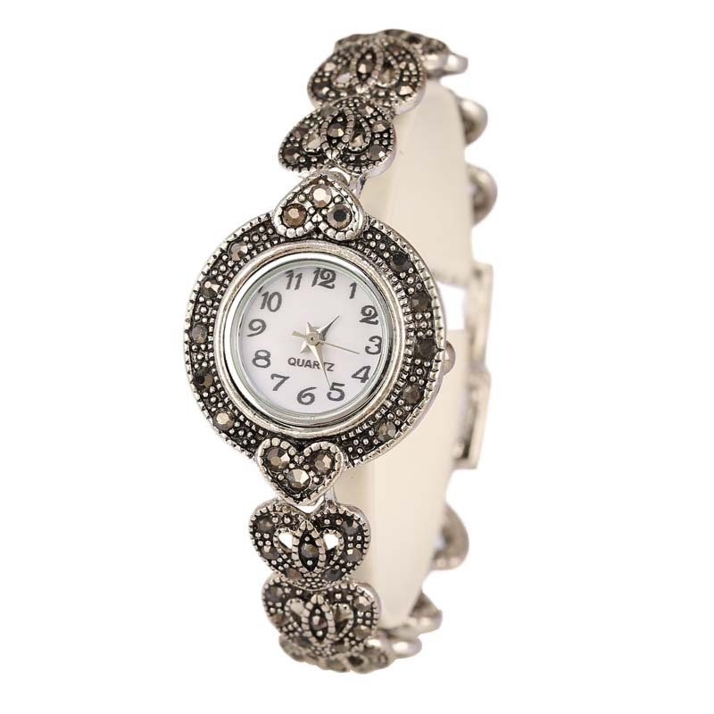 New 2015 Fashion Designer Promotion Plated Antique Silver Bangles 26 Artificial Diamond Bracelet Wristwatch For Women