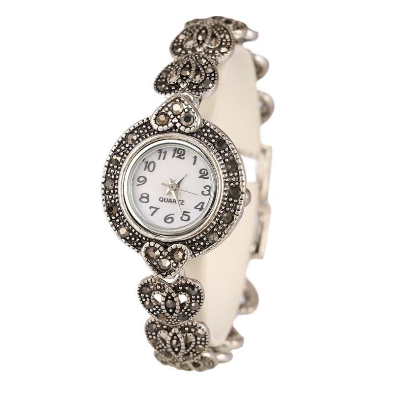 New 2017 Fashion Designer Promotion Plated Antique Silver + Bangles + 26% Crystal Bracelet Wristwatch For Women