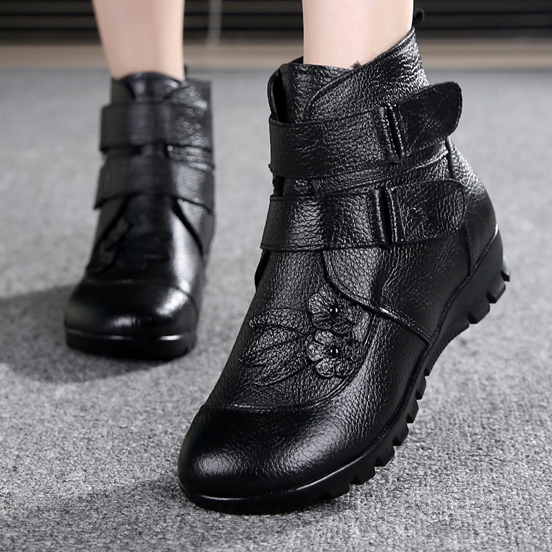 ФОТО Snow boots shoes women genuine leather anti-skid winter boots women boots warm plush winter shoes Big Size 35-43