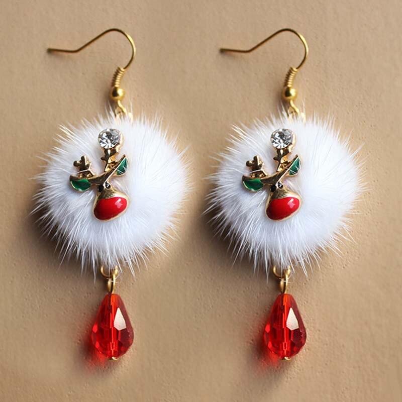 Regalo de Año Nuevo 2021, Papá Noel, muñeco de nieve, ciervo ciruela, Bola de terciopelo blanco, pendiente de cristal rojo, Pendientes colgantes largos para Navidad 2020